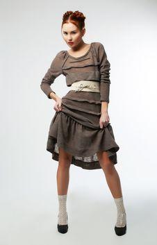 Free Fashionable Girl In Modern Dress Posing In Studio Stock Image - 23525711