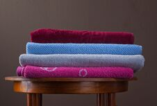 Free Pile Of Cotton Colorful Towels Royalty Free Stock Image - 23527216