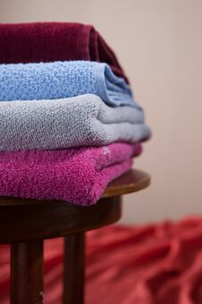 Free Pile Of Cotton Colorful Towels Royalty Free Stock Photography - 23527267