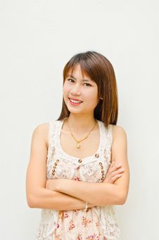 Pretty Asian Girl Smiling Stock Images
