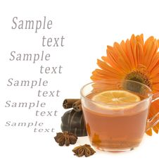 Free Black Tea With On A Background An Orange Flower Stock Images - 23529744