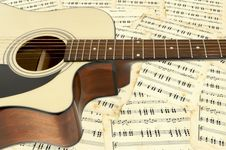 Free Guitar On A Background Notes Royalty Free Stock Photo - 23529765