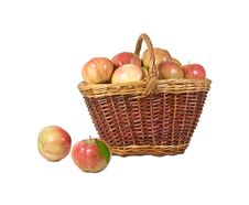 Free Apples Lie In A Basket On A White Background Royalty Free Stock Photography - 23529797