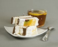 Free Pieces Of Cake, Tea And Tea-spoon Royalty Free Stock Images - 23529899