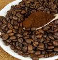 Free Coffee Beans And Ground Coffee In A Spoon. Royalty Free Stock Image - 23530426