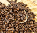 Free Coffee Beans In A Wooden Spoon Royalty Free Stock Photography - 23530427