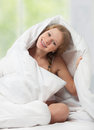 Free Funny Beautiful Girl Under The Blanket Royalty Free Stock Photo - 23537245