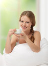 Free Beautiful Girl Drinking Coffee In Bed Stock Images - 23537264