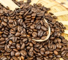 Coffee Beans In A Wooden Spoon Royalty Free Stock Photography