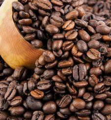 Coffee Beans In A Wooden Spoon Stock Image