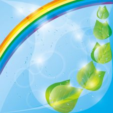 Free Spring Eco Background,  Leaves And Rainbow Stock Image - 23533641