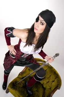 Free Captains Mate One Eyed Pirate Chick Eyepatch Sword Royalty Free Stock Photos - 23536548