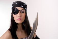 Free Captain One Eye Female Pirate Knife Blade Patch Royalty Free Stock Photography - 23536567