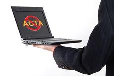 Free Anti Acta Symbol On Netbook Stock Photo - 23537640