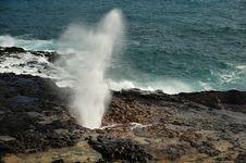 Spouting Horn At Poipu Beach, Kauai, Hawaii, USA Stock Photography