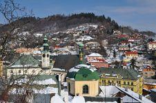 Banska Stiavnica Historical Mining Town In Winter Stock Photo