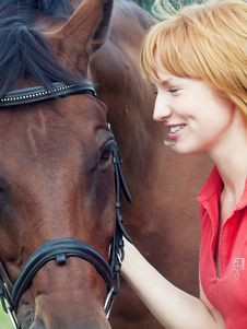Free Portrait Of Young Cute Girl  With Her Horse Stock Image - 23543911