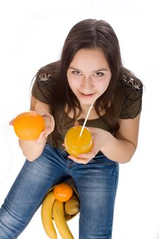 Free Girl With Orange Juice And Fruit Royalty Free Stock Images - 23544809