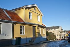 An Old Yellow Brick House In Halden. Stock Photography