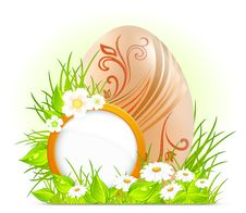 Free Egg With Flowers & Signboard Royalty Free Stock Image - 23551716