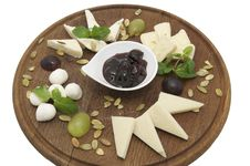 Free Wooden Plate With Cheeses Stock Photo - 23552300