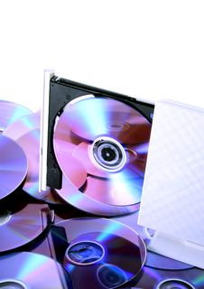 Free Poratble CD-RW/DVD-RW Device With A Disc Inside Stock Photos - 23556233
