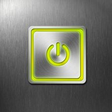 Free Power Button On Metal Panel Stock Images - 23559514