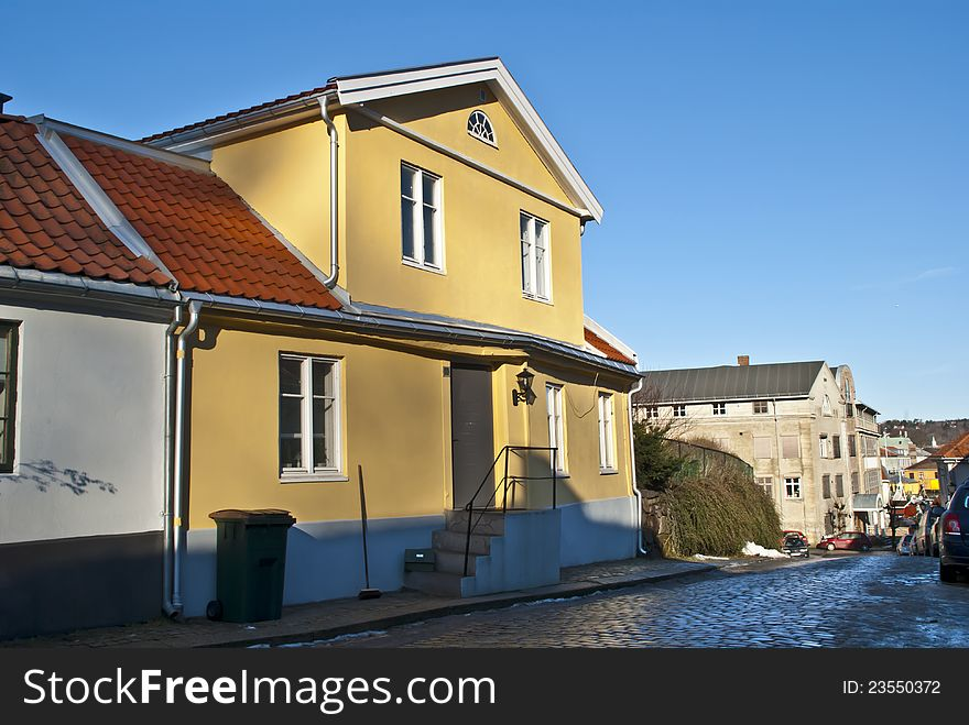 An old yellow brick house in Halden.