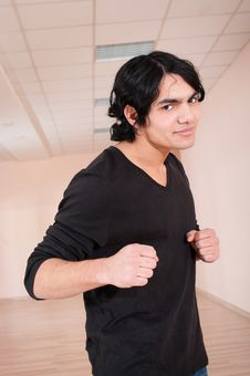 Fighter Young Man In Training Hall Royalty Free Stock Photo
