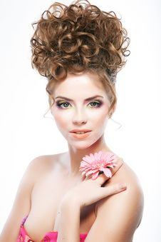 Free Lovely Brunette Woman With Flower. Bright Makeup Stock Photos - 23562303