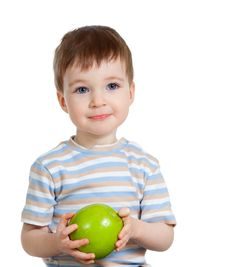 Child Holding Green Apple Isolated Stock Photo