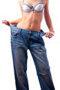 Free Athletic Muscular Female Body In Old Trousers Royalty Free Stock Photos - 23570418