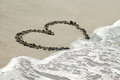 Free Heart On Sand With Wave Approaching Royalty Free Stock Images - 23576179