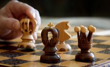 Free Chess Play With Focus To Black King In Front Royalty Free Stock Image - 23570056