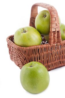Free Ripe Green Apples In Basket Stock Photo - 23575810