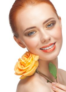 Free Woman With Make-up And Rose Stock Photo - 23576080