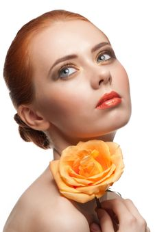 Free Woman With Make-up And Rose Stock Photography - 23576082