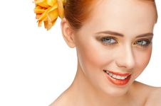 Free Woman With Make-up With  Rose Royalty Free Stock Photography - 23576097
