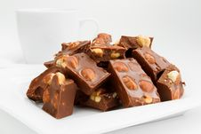 Free Broken Chocolate Pieces With Nuts On Plate Royalty Free Stock Image - 23581896