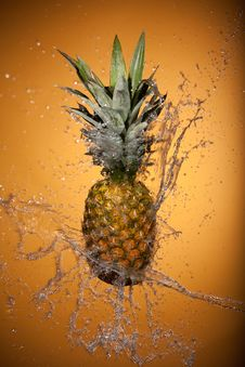 Free Pineapple Splashed With Water Stock Image - 23587181