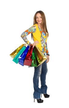 Free Beautiful Girl On Shopping With Parcels Stock Images - 23589324
