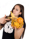 Free Girl Holds Out A Basket Of Citrus Fruit Stock Photo - 23591170
