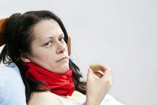 Free Sick Girl Drinks The Medicine Royalty Free Stock Photography - 23590157