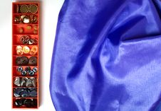 Free Box Of Buttons And Cloth Stock Images - 23590614