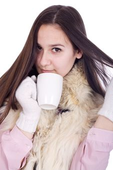 Free Girl With A Cup Of Hot Coffee Royalty Free Stock Image - 23591276