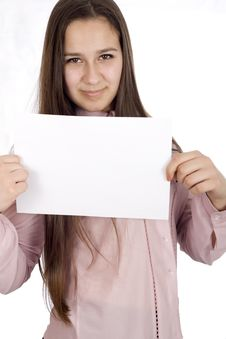 Teenager Holding A Piece Og Paper Royalty Free Stock Images