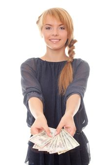 Free Young Woman Offers To Take The Money Royalty Free Stock Photos - 23592788