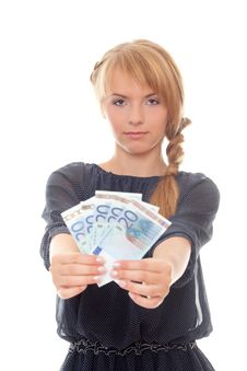 Free Young Woman Holding Money In Outstretched Hands Stock Image - 23592811