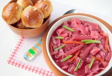 Beetroot Soup And Garlic Buns Royalty Free Stock Photo