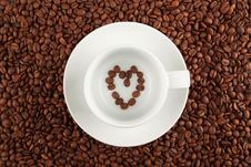 Coffee Cup And Heart Stock Photo